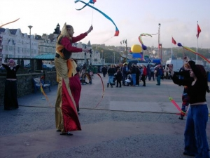 Street performers on Douglas Promenade